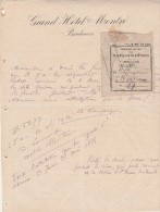 Lettre 1885 Entête Grand Hôtel MONTRE BORDEAUX Gironde Avec Reçu Chemins De Fer Gare St Rémy De Durolle Puy De Dôme - Francia