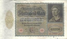ALLEMAGNE -- REICHSBANKNOTE 10.000 Mark -- Berlin , Den 19 Januar 1922 -- C. 2916103 - [ 3] 1918-1933 : République De Weimar