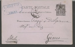 IPE42---  POST COMPLET, 1890,  NIMES---GENOVA,  ITALIA, - Entiers Postaux