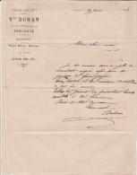 Lettre 1888 Vve DURAN Confiserie Chocolaterie Rhum Liqueurs  TOULOUSE Haute Garonne - Francia