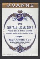Etiquette De Vin Premières Côtes De Bordeaux Langoiran 1961 - Chateau Ligassonne -  R. Joanne à Bordeaux  (33) - Bordeaux