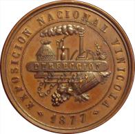 ALFONSO XII. MEDALLA EXPOSICION NACIONAL VINICOLA 1.877 -PERFECCION-. ESPAGNE. SPAIN - Royaux/De Noblesse