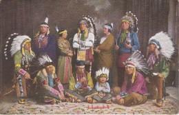 POSTAL DE EINE TRUPPE DER IROKESEN INDIANER DES CIRCUS KRONE  (INDIO) REUNION FAMILIAR - Indiani Dell'America Del Nord