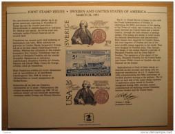 1983 Prueba Print Proof Druck 200 Anniversary Treaty Suecia Sweden Sverige USA - Nachdrucke & Specimen