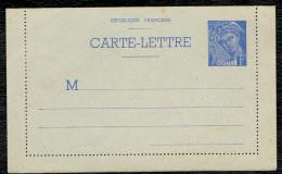 Entier Postal ( 006 ) 1f Bleu Mercure . Carte Lettre Neuf - Entiers Postaux