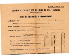Formulaire SNCF 1938 INDEMNITES   DEMENAGEMENT - Vieux Papiers