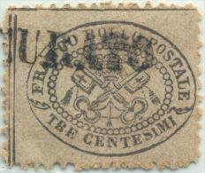 SI53D Italia Italy ANTICHI STATI - STATO PONTIFICIO Tre Centesimi 1868 USATO Non Certificato - Stato Pontificio