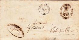 Montecosaro Per Potenza Picena, Piego In Franchigia Con Contenuto 1874 - 1861-78 Vittorio Emanuele II