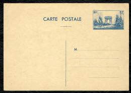Entier Postal (009 ) 80 C Arc De Triomphe ; Bleu. Carte Postale Neuve - Entiers Postaux