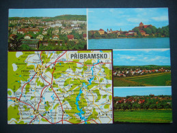 Czechoslovakia (Czech R.): PRIBRAM ROZMITAL BREZNICE MILIN - Multiview, Map Mappe Carte - Posted 1990s - Landkaarten