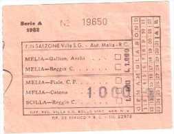 BIGLIETTO BUS VILLA SAN GIOVANNI MELIA ANNI 60 LIRE 1000 - Vieux Papiers