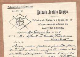 Alpedrinha FABRICA De POLVORA E FOGO ARTIFICIO Envelope + Carta Comercial Timbrada (Fundão - Castelo Branco) PORTUGAL - Portugal
