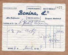 Papel Publicidade Loja PERFUMARIA DROGARIA BONINA - COVILHA 1940s PORTUGAL - Portugal