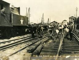 France Brest Catastrophe Explosion Port Reconstruction SNCF Ancienne Photo 1947 - Trains