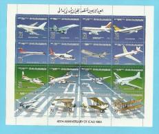 1984 - Libya - Aviation Airplanes  ICAO -Minisheet MNH** - Libyen