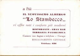 CARTONCINO - BIGLIETTO DA VISITA PUBBLICITARIO - ALBERGO LO STAMBECCO - VIU' - Visiting Cards