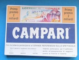 1991 CARTOLINA LOTTERIA CASERTA - Biglietti Della Lotteria