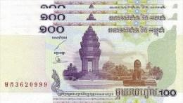 3 Pieces 2001 Cambodia Cambodge Banknote 100 Riels UNC Temple Motorbike Lion School - Cambodia