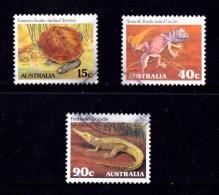 Australia 1982 Reptiles & Amphibians Series II Set Of 3 Used - Used Stamps