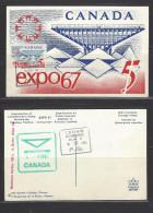 KANADA - Postkarte Mit Mi-Nr. 410 Weltausstellung EXPO 67, Montreal - 1967 – Montreal (Kanada)