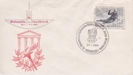ENVELOPPE  TIMBRÉE AVEC CACHET JEUX OLYMPIQUES  INNSBRUCK   27.1.1964 - Hiver 1964: Innsbruck