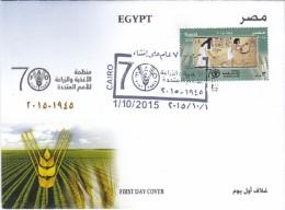 Egypt New 2015, &0th Ann FAO 1v.compl.set On Official Illutsr.FDC - Fine - Egypt