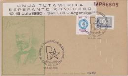 (AKE 105) Esperanto Card Unua Tutamerika Kongreso De Esperanto En Argentino 1980 - Esperanto