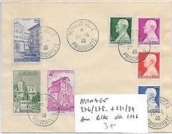 MONACO 276/278 + 281/84 SUR LETTRE OBL 1946 - Europe (Other)