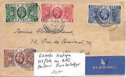 GRANDE BRETAGNE N° 201/204 SUR LETTRE PAR AVION POUR LA BELGIQUE - Lettres & Documents