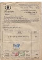 Facture Du Service Des Finances Centre Philatélique SNCB+adjudication C.BXL Petite-Ile 1/10/1943 TP Fiscaux PR2703 - Otros