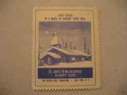 St. John's In-The-Wilderness Allakaket Alaska New York Poster Stamp Label Vignette Viñeta USA - United States