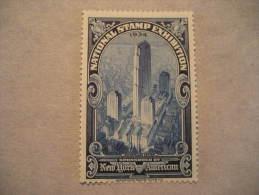 New York 1934 International Philatelic Exhibition Rockefeller Center Poster Stamp Label Vignette Viñeta USA - United States