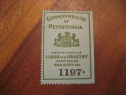 Commonwealth Of Pennsylvania Labor Industry Horse Horses Poster Stamp Label Vignette Viñeta USA - United States