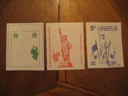 New York 1957 Esperanto Liberty Statue Proof Druck Colour Imperforated 3 Poster Stamp Label Vignette Viñeta USA - Nachdrucke & Specimen