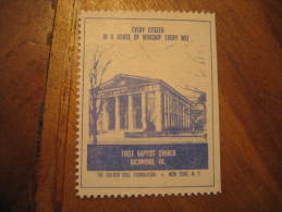 Richmond First Baptist Church Religion Poster Stamp Label Vignette Viñeta USA - United States