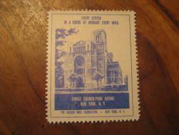 New York Christ Church Park Avenue Religion Poster Stamp Label Vignette Viñeta USA - United States