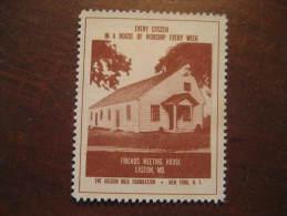 Easton Friends Meeting House Religion Poster Stamp Label Vignette Viñeta USA - United States