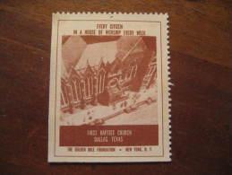 Dallas First Baptist Church Religion Poster Stamp Label Vignette Viñeta USA - United States