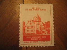 Charleston Circular Congregational Church Religion Poster Stamp Label Vignette Viñeta USA - United States