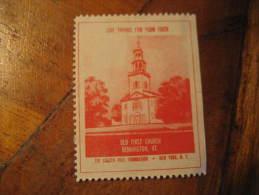 Bennington Old First Church Religion Poster Stamp Label Vignette Viñeta USA - United States