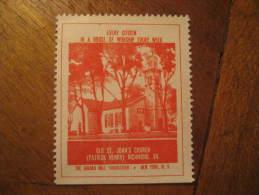 Patrick Henry Richmond Old St. John's Church Religion Poster Stamp Label Vignette Viñeta USA - United States