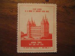 Mormon Temple Salk Lake City Religion Poster Stamp Label Vignette Viñeta USA - United States