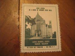 Madison Luther Memorial Church Religion Poster Stamp Label Vignette Viñeta USA - Vereinigte Staaten