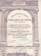 Romania Stock Bond - Shareholding - Industry - Letea SAR 10000 Lei 1942 - Industrie