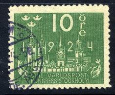 SWEDEN 1924 UPU Congress 10 öre With Lines  Watermark  Used.  Michel 145X - Sweden