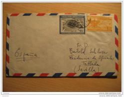 Cali 1958 To Aerodromo Tablada Sevilla Spain Residencia De Oficiales 2 Stamp Stadium Militar On Cover Colombia - Colombia