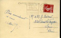 5934 France, Special Postmark 1938 Osseja Soleil Montagnes Et Poiriers,  Geology Mountain - Andere