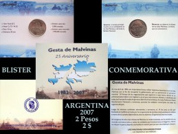 ARGENTINA Blisters 25° Aniv. Gesta De Malvinas 2 Pesos 2007 Nº 002477/003858 (DOS BLISTERS DISPONIBLES) - Argentina