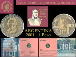ARGENTINA Moneda - Blister Conmemorativo De Urquiza Año 2001 Blister Urquiza 1 Peso Canto Liso Año 2001 - Argentina