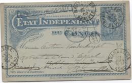 Etat Indépendant Du Congo Boma C. Incomplète C.Leopoldville En 1900 C.Boma V.BXL Redirigé V.Grandlise C.d'arrivée PR2715 - Entiers Postaux